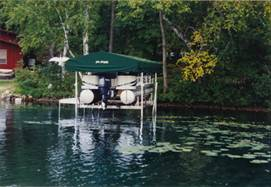 Pier Pleasure Canopies for your pontoon lift.